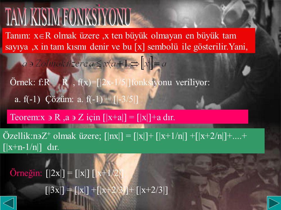 TAM KISIM FONKSİYONU Tanım: xR olmak üzere ,x ten büyük olmayan en büyük tam sayıya ,x in tam kısmı denir ve bu [x] sembolü ile gösterilir.Yani,